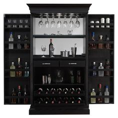 Ashley Heights Black Stain Home Bar Wine Cabinet | Overstock™ Shopping - Big Discounts on Bars