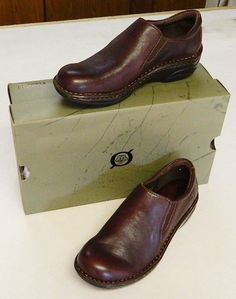Born Sable Leather Mocs Loafers 6M/36.5  Mahogany Brown #Brn #LoafersMoccasins