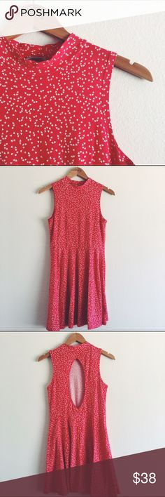 SALE  UO dress! This kimchi blue sleeveless dress features an almond shaped open back, fit and flare style. It's super duper comfortable and the little heart print is adorable! 95% cotton, 5% spandex. Urban Outfitters Dresses Backless