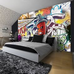 Boys Room Decor, Kids Bedroom, Bedroom Decor, Small Room Interior, Interior Design Living Room, Boys Bedroom Wallpaper, Graffiti Room, Skateboard Room, Custom Bunk Beds