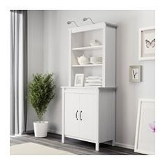IKEA - BRUSALI, High cabinet with doors, white, , Adjustable shelves, so you can customize your storage as needed.