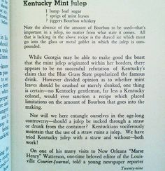 """This Kentucky Mint Julep recipe doesn't wish to start an argument over quantities  or even how the mint is prepared.  Just shave the ice add the ingredients and enjoy to your liking weather your in Georgia Kentucky or elsewhere. """"FAMOUS NEW ORLEANS COCKTAILS AND HOPE TO MIX'EM."""" 1937 first edition of this New Orleans post prohibition masterpiece.  Not only listing recipes but telling the rich history of New Orleans and it's cocktail history. $150 Philadelphiabookslinger@gmail.com $150 front…"""