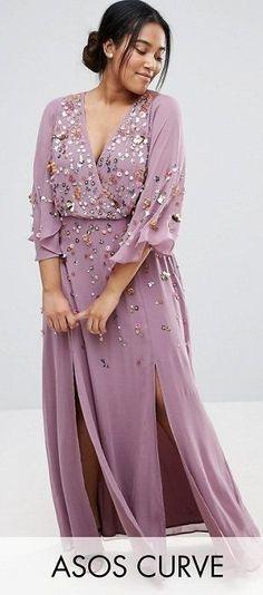 Plus Size Embellished Kimono Sleeve Maxi Dress