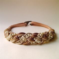 80s vintage Woven Twisted Cord and Faux Pearl by SkinnyandBernie