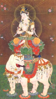 thethreejewels:  BodhisattvaSamantabhadra on a white elephant. Samantabhadrais abodhisattvainMahāyānaBuddhism associated with Buddhist...