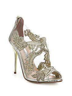 Oscar de la Renta Ambria Embroidered Metallic Peep-Toe Sandals