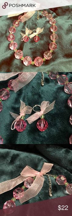 """Pretty in Pink Set Necklace & Earrings with Bows 16"""" Necklace 1"""" Drop Earrings. Very adorable. Jewelry"""