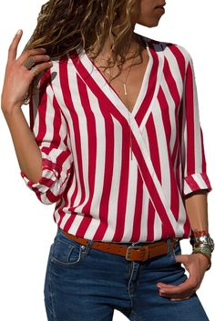 Women Striped Blouse Shirt Long Sleeve Blouse V-neck Shirts Casual Tops Blouserricdress Striped Long Sleeve Shirt, Long Sleeve Shirts, Stripes Fashion, Red And White Stripes, Red Black, Red White Striped Shirt, Striped Style, Navy Blue, Mode Outfits