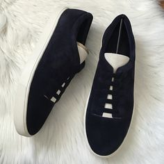 Vince Canyon Slip-on sneaker Perfect casual, every day sneaker. Runs large. Suede. Faux lace up vamp. Color: Hindigo-bone. Topstitching. Offers welcome through offer tab. No trades. Vince Shoes Sneakers