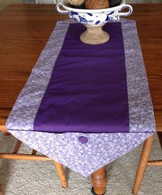 XL Table runner in shades of purple, sz 51 x 16, flower pattern,coffee table scarf, dresser scarf,home decor, table decoration, accent piece