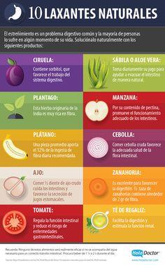10 laxantes naturales para aliviar el estreñimiento. #salud #laxantes #infografia