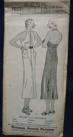 1930s Halter Top Dress Pattern  Hollywood Regency Old by kinseysue, $175.00.  This is one killer dress!!!!  I especially love the front zipper detail!