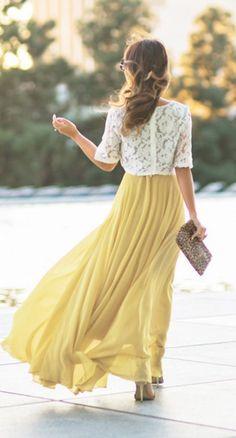 Soft Yellow Chiffon Maxi Skirt. Spring Summer Flowvy Long Skirt
