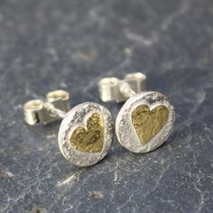 silver and 18ct gold heart stud earrings by DeborahJonesJewelry, £38.00