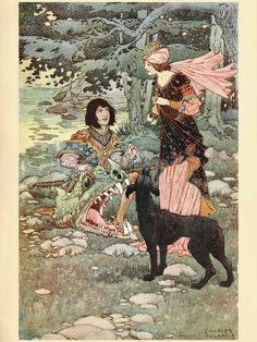 "British Fairy and Folk Tales, Edited by W. J. Glover, Author of ""Tales from the Earthly Paradise "" and ""Tales from the Poets"". Illustrated by Charles James Folkard. A. & C. Black LDT. 4, 5, and 6, Soho Square, London. .1919.  ""Good luck and victory were following thee, lad,"" said the princess."