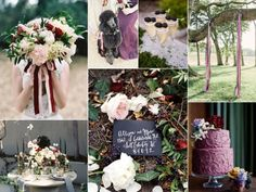 Berry and black wedding inspiration board