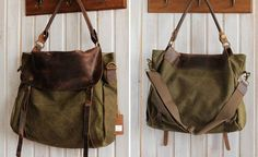 Kelly  Leather-canvas tote /Leather bag/Canvas bag /Shopping bag/ Stitch bag/Shoulder bag/iPad bag. $85.00, via Etsy. @Lisa Phillips-Barton Phillips-Barton Sommers