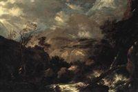 Uvejrslandskab med brusende flod og figurer by Salvator Rosa