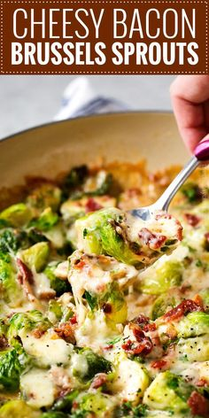 Cheesy Brussels Sprouts with Bacon These Brussels sprouts are sautéed with shallots and garlic, topped with cream, two types of cheese, sprinkled with bacon, and baked until bubbly. It will convert even the most die hard Brussels sprouts haters! Creamy Brussel Sprouts, Shaved Brussel Sprouts, Brussel Sprouts With Bacon, Brussel Spouts Recipes, Brussel Sprouts Au Gratin, Brussel Sprout Casserole, Best Brussel Sprout Recipe, Brussel Sprout Salad, Bacon Recipes