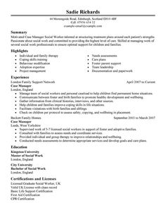 Social Work Resume Examples  Social Worker Resume Sample  Resume