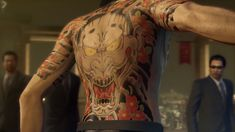 In Japan, tattoos and the yakuza often seem inseparable. Not every gangster has a tattoo and not everyone with a full bodysuit is a gangster, but when pop culture depicts the underworld, anti-heroes come fully inked. Case in point: the Yakuza games. Irezumi Tattoos, Yakuza Style Tattoo, Marquesan Tattoos, Tribal Tattoos, Thai Tattoo, S Tattoo, Back Tattoo, Japanese Dragon Tattoos, Japanese Sleeve Tattoos