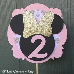 Gold GLITTER & Pale Pink MINNIE Mouse Cake by ktbluecreations