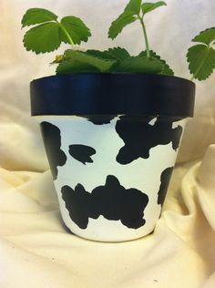 Handpainted Cow Print Terracotta Flower Pot. $8.00, via Etsy.