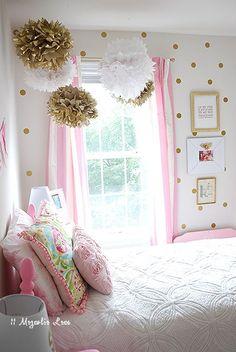 Pink, white, and gold girl's room with adorable tissue poms | 11 Magnolia Lane http://www.nashvillewrapscommunity.com/blog/2010/07/how-to-make-tissue-flower-pom-poms/