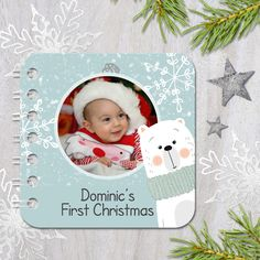 Personalised, handmade baby board book: Festive Bear design.  Part of a range of book designs personalised with your own photos and wording. From PhotoFairytales.co.uk - perfect personalised Christmas gift for baby or toddler!