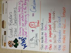 Drawing conclusions anchor chart - helpful to teach my first graders Reading Lessons, Reading Skills, Teaching Reading, Guided Reading, Learning, Reading Anchor Charts, Drawing Conclusions, Third Grade Reading, Teaching Language Arts