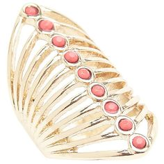 Lane Bryant Coral stone knuckle ring ($20) ❤ liked on Polyvore