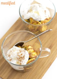 Salted Caramelized Plantains with Coconut Cream from http://meatified.com #paleo #glutenfree #autoimmunepaleo