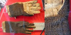 European (italy) riveted mail dueling gloves, 16th century, original linen lining, the palm of the left glove is covered with mail in order to enable the wearer to grab the sword of an adversary during a duel without injury. Royal Armouries.