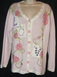 $25.99   Storybook Knits HSN Love Pink Floral Cotton Blend Cardigan Sweater M