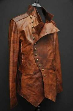 Mens Leather Steampunk Rock Military Jacket Tan