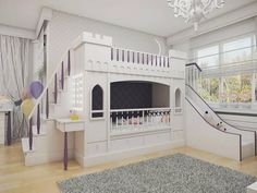 made to order castle bunk bed with slide and side table safety rails Bunk Bed With Slide, Bunk Beds With Stairs, Cool Bunk Beds, Bunk Beds For Girls Room, Kids Bunk Beds, Loft Beds, Bunk Rooms, Build A Loft Bed, Girl Bedroom Designs