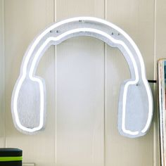Headphones Neon Wall Light | PBteen This is so cool and would go perfect with my room! It'll match my guitar decal!❤️