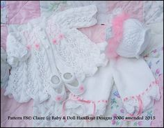 Feathered Lacy Coat Set 16-21 inch doll/0-3m baby-coat, bonnet, shoes, trousers