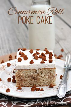 """Another Pinner wrote: """"There's a reason poke cakes are so popular. Every one I've ever tried has been a delicious indulgence, and this cinnamon roll poke cake is no exception. The cake starts with a simple white cake (fr. Poke Cake Recipes, Poke Cakes, Cupcake Cakes, Dessert Recipes, Cupcakes, Dump Recipes, Cupcake Recipes, Mini Desserts, Just Desserts"""
