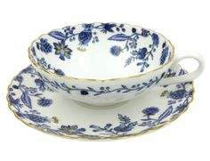 Jsaron Vintage Blue Flower Tea Coffee Cup with Spoon and Saucer Set in Gift Box