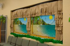 Scene setter window decorations for Shipwrecked VBS. Explore more decoration ideas at Concordia Supply!