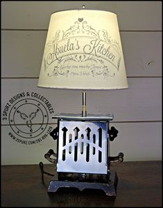 "Vintage toaster made into a lamp, with custom shade. Custom shade ""Mom's Diner Open 24 Hrs"" would make a great conversation piece on ."