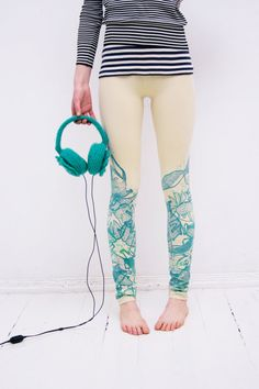 Love these unique leggings crafted from stretch organic cotton jersey fabric with mint ZIB* animal print on bottom of leg and elasticated waistband, longer than standard leggings, extra fabric around the ankle and raw edge.