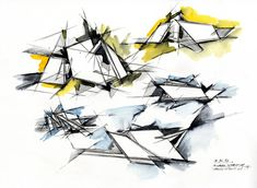In these sketches, Daniel Libeskind has used watercolours to indicate the background of the building, leaving the detail and form of the graphite sketch to be focused upon.