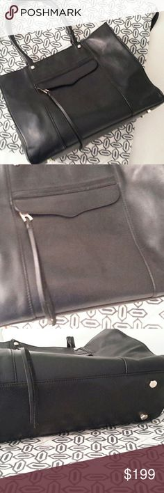 "Rebecca Minkoff M.A.B. Black luxurious leather, front zip pocket, inside fully lined w/large zip pocket and two small pockets, magnetic snap closure. Great bag in EUC.  11"" top to bottom, 14"" wide, 5"" deep. Dust bag included. Rebecca Minkoff Bags Satchels"