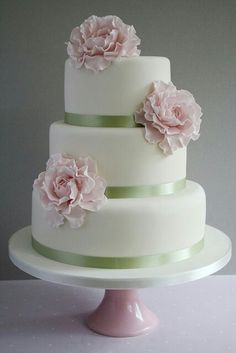 Wedding cake with mint ribbon and blush flowers