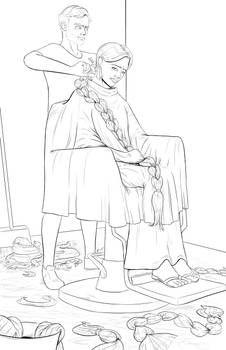 All by danielwartist on DeviantArt Anime Haircut, Cersei Lannister, Pop Culture Art, Super Long Hair, Barber Shop, Short Hair Cuts, Drawing, Her Hair, Sketches