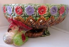 MAJOLICA antique 19C centrepiece pigeons and flowers