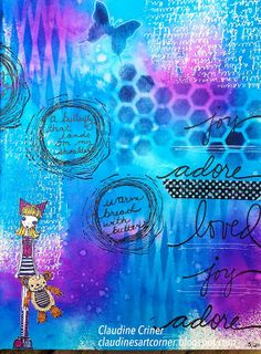 Journal Page using Dylusions sprays and Stampotique Characters