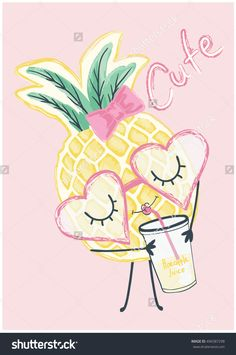 illustration cute pineapple graphic for t shirt print